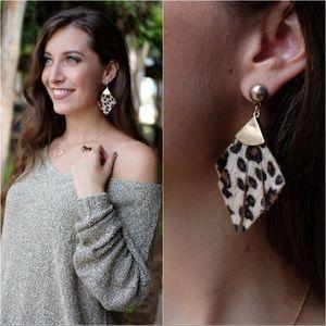 Jewelry - Leopard Print Faux Fur Earrings